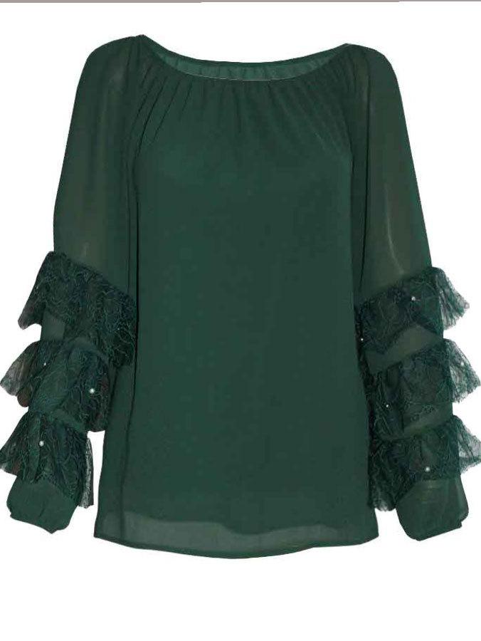 99781d85207 Блуза шифон с лодка деколтe дантелени волани на ръкава зелено | Vivamoda