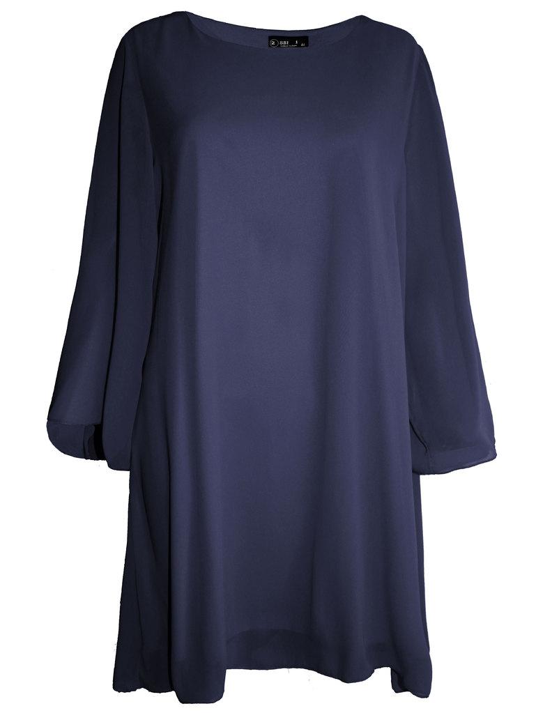 20e2e46fa5c Дамска туника-рокля шифон с клош ръкав тъмносиньо 44-54 | Vivamoda