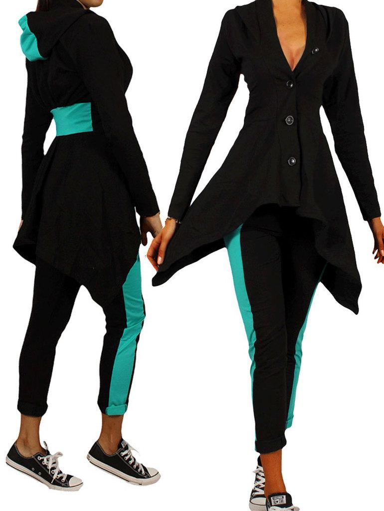 02f43261a30 Спортен комплект от 2 части асиметрично сако с клин-панталон черно с мента