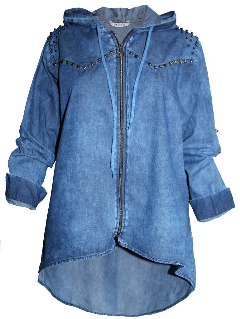 dc174021053 Дамска дънкова риза с цип и качулка удължен гръб   Vivamoda