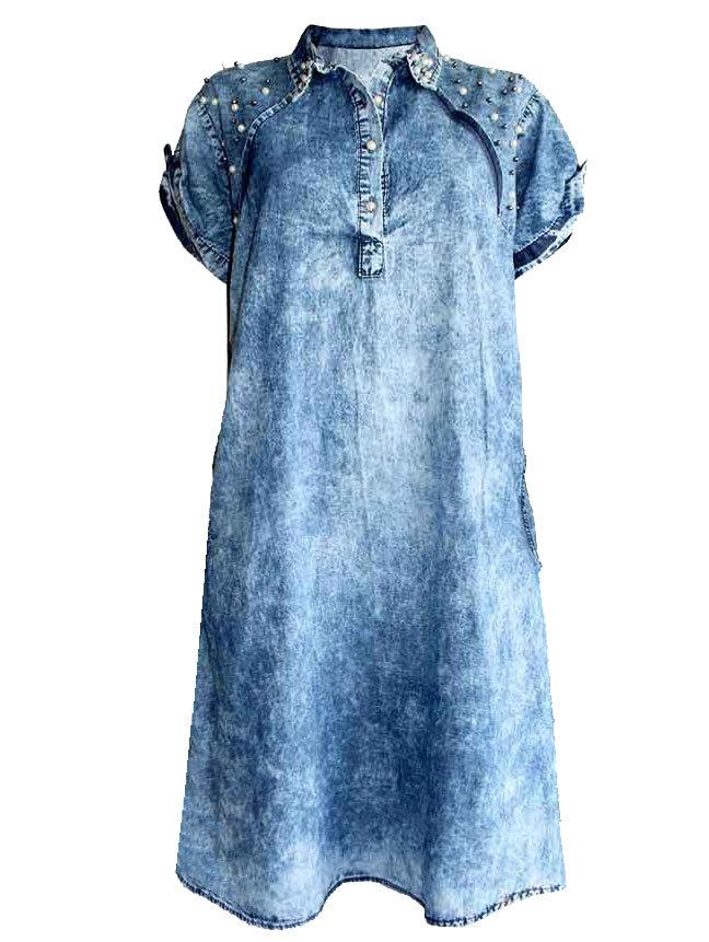 01d1a93c672 Лятна дънкова рокля с перли индиговосиньо 52-60 BG | Vivamoda