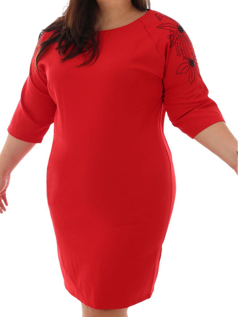 5fef5842808 Дамска елегантна макси рокля с камъчета на ръкава 52-58 ВG червено ...