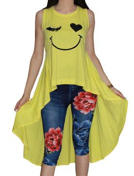 c1413aeee9e Дамска туника щампа усмивка с шлейф жълто