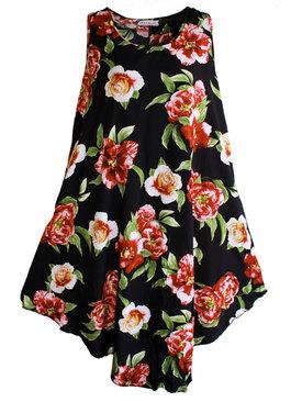 3c06bc0742f Дамска рокля-туника от памук на едри божури черно