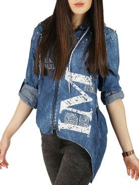 9c06c66e123 Дамска дънкова риза с цип и качулка с щампа и удължен гръб