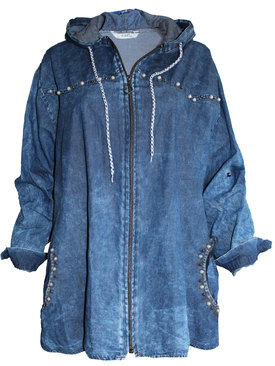 71e08762826 Дамска дънкова риза с цип и качулка декорация перли