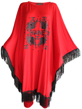 86212d8cf64 Дамска туника-пончо с ресни и клин червено