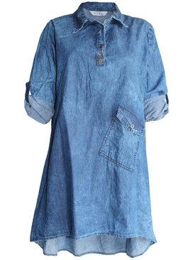 623f1046cc1 Дамска дънкова туника-рокля с един джоб 46-54
