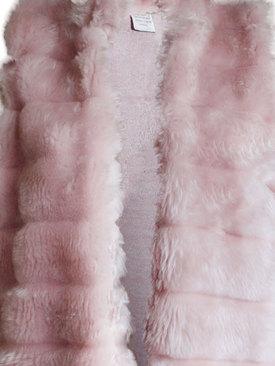 0de0f266b03 Дамски елек от еко кожа с косъм на редове розово. Добави ...